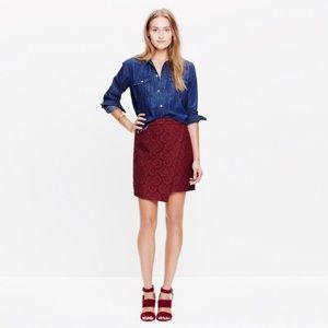 Madewell BLACK  lace wrap asymmetrical mini skirt